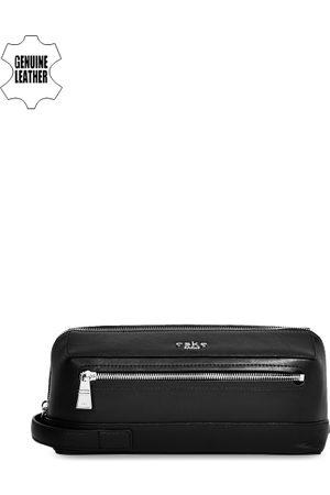 Eske Men Black Genuine Leather Travel Pouch