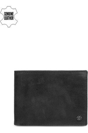 Eske Men Black Solid Two Fold Leather Wallet