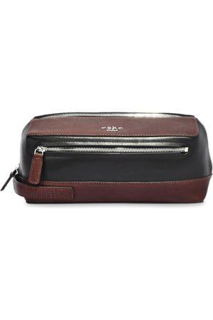 Eske Men Brown & Black Colourblocked Leather Brut Travel Pouch