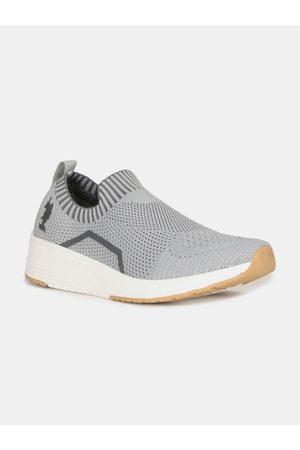 Ralph Lauren Men Grey Woven Design Slip-On Sneakers