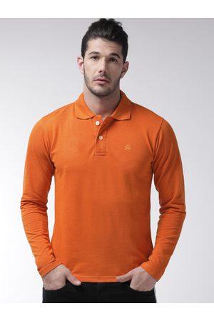 CHKOKKO Men Orange Solid Polo Collar T-shirt