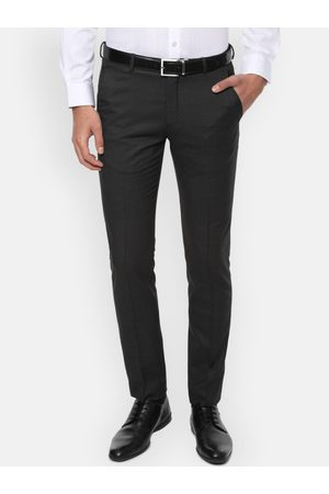 Louis Philippe Men Charcoal Grey Slim Fit Solid Formal Trousers