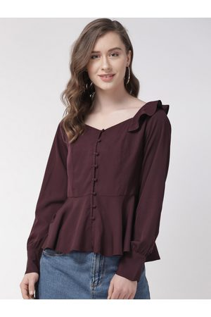 Quiero Women Burgundy Solid A-Line Top