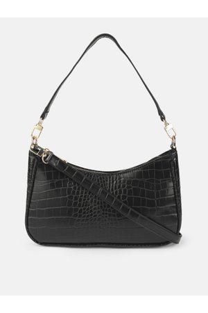 Mast & Harbour Women Black Textured Hobo Bag