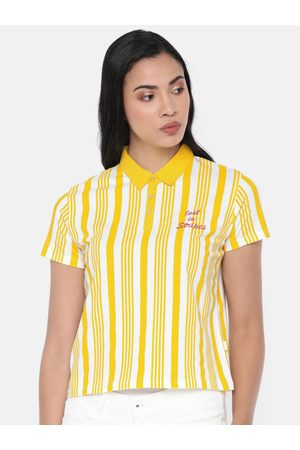 Pepe Jeans Women Yellow & White Esra Striped Polo Collar T-shirt