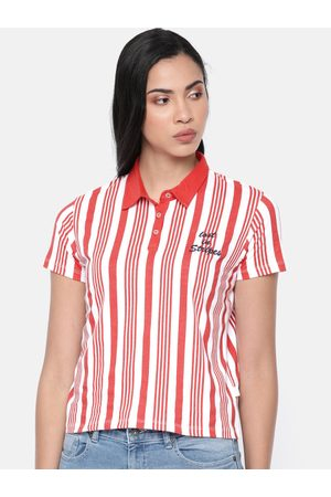 Pepe Jeans Women Coral Red & White Esra Striped Polo Collar T-shirt
