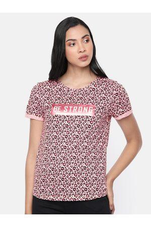 Pepe Jeans Women Pink & Black Remi Printed Round Neck T-shirt