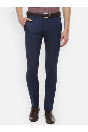 Louis Philippe Men Blue Slim Fit Self Design Formal Trousers