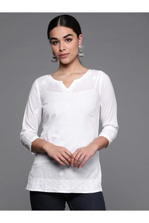 Fab India Women White Chikankari Embroidered Detail Straight Kurti