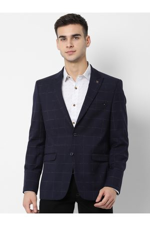 Allen Solly Men Navy Blue Checked Slim-Fit Single-Breasted Casual Blazer