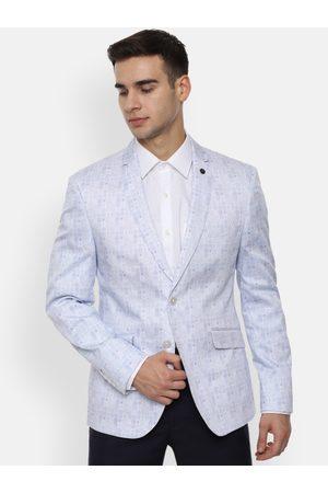 V Dot Men Blue Printed Slim-Fit Single-Breasted Formal Blazer