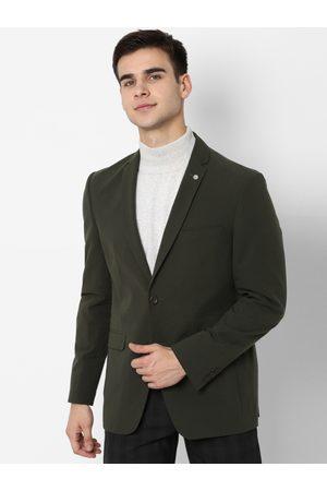 Allen Solly Men Olive Green Self-Design Slim-Fit Single-Breasted Smart Casual Blazer