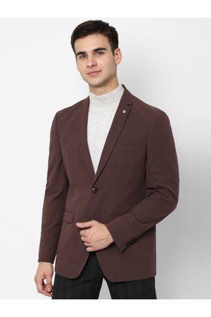Allen Solly Men Burgundy Self Design Slim-Fit Single-Breasted Casual Blazer