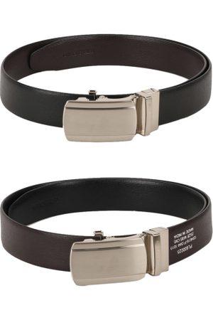 Peter England Men Black & Coffee Brown Reversible Textured Belt