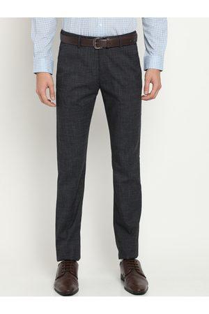 Crocodile Men Grey Classic Slim Fit Self Design Formal Trousers