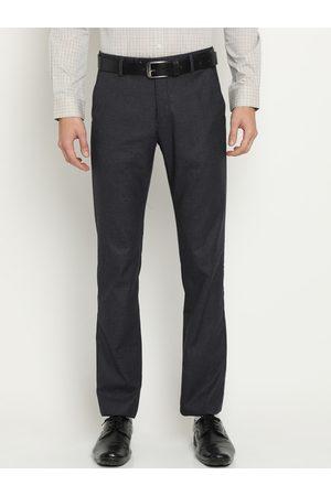 Crocodile Men Grey Classic Slim Fit Solid Formal Trousers