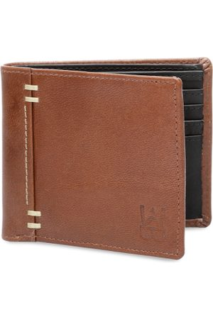 WELBAWT Men Tan Brown Solid Leather Two Fold Wallet