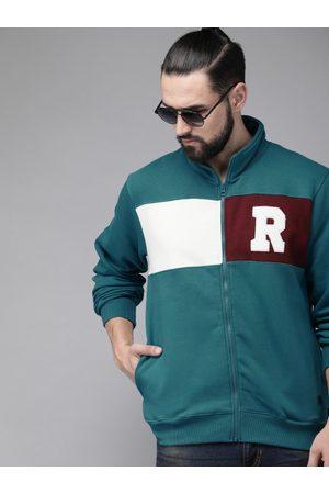 Roadster Men Blue & Maroon Colourblocked Sweatshirt