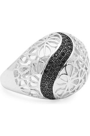 shaze Women Silver-Toned & Black Studded Embrace Finger Ring