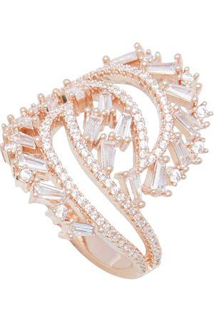shaze Women Gold-Plated & White CZ-Studded Enlace Finger Ring