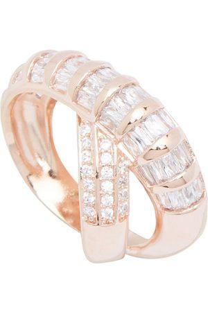 shaze Women Gold-Toned & White Stone-Studded Turn-Twine Band Finger Ring