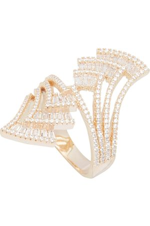shaze Women Gold-Plated & White CZ-Studded By-Pass Palm Finger Ring