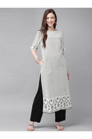 Anouk Women Black & White Striped Straight Kurta