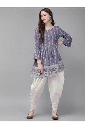 Anouk Women Purple & White Printed Kurti with Dhoti Pants