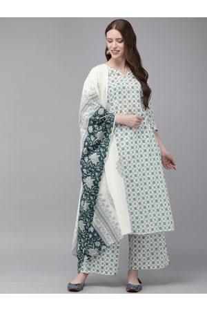 Anouk Women White & Green Printed Kurta with Palazzos & Dupatta
