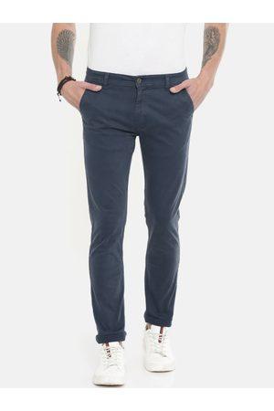 Pepe Jeans Men Navy Blue Roller Slim Fit Solid Regular Trousers