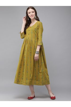 Anouk Women Mustard Yellow & Green Printed A-Line Kurta