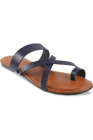 All Things Mochi Women Blue Solid One Toe Flats