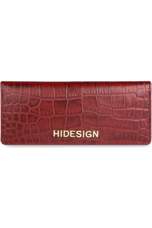 Hidesign Women Red Crocodile Skin Textured Leather Two Fold Wallet