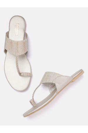 Anouk Women Beige Woven Design One Toe Flats