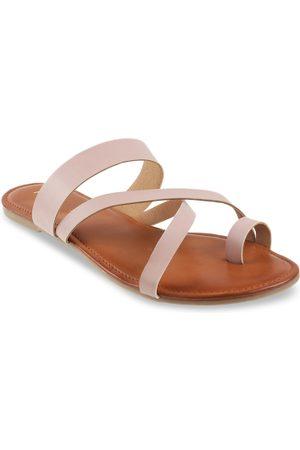 Mochi Women Peach-Coloured Solid One Toe Flats