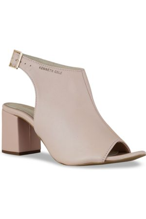 Kenneth Cole Women Peach-Coloured Solid Mid-Top Leather Heels