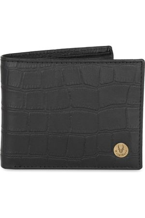 WildHorn Men Black Crocodile Skin Textured RFID Protected Genuine Leather Two Fold Wallet