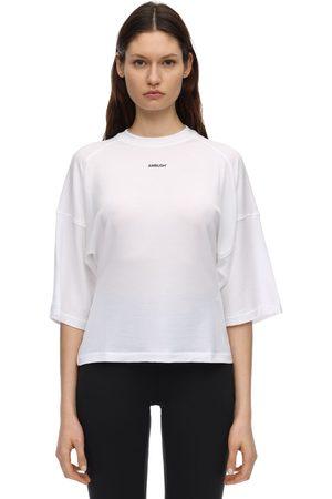 AMBUSH Cropped Logo Print Rayon T-shirt
