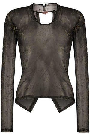 ROMEO GIGLI 1990s metallic stamps sheer blouse