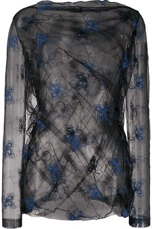 ROMEO GIGLI SS 1990 embroidered sheer blouse