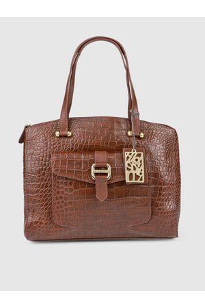 Hidesign Brown Textured Leather Shoulder Bag