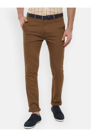 V Dot Men Khaki Slim Fit Solid Regular Trousers