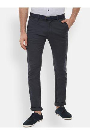 V Dot Men Grey & Blue Slim Fit Self Design Regular Trousers