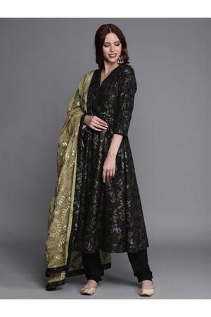 Bollywood Vogue Women Black & Brown Printed Made To Measure Kurta with Salwar & Dupatta