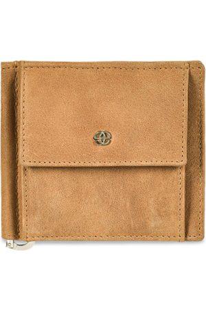 Eske Men Beige Solid Two Fold Leather Wallet