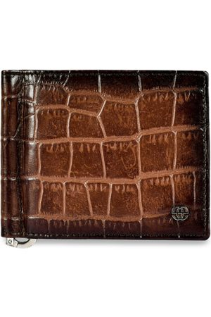 Eske Men Brown Textured Two Fold Leather Wallet