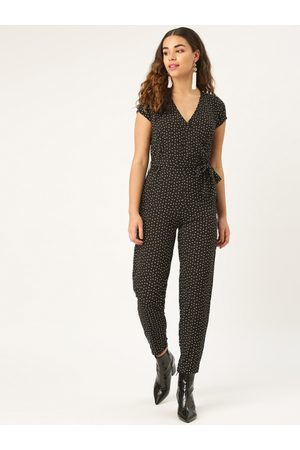 Style Quotient Women Black & White Printed Wrap Basic Jumpsuit