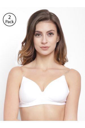 Florett Pack Of 2 White Solid Non-Wired Lightly Padded T-shirt Bra T3029