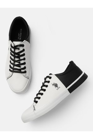 Ralph Lauren Men White & Black Colourblocked PANAL Sneakers