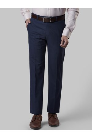 Raymond Weil Men Blue Slim Fit Checked Formal Trousers